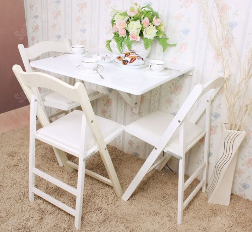 Haotian Wall-mounted Drop-leaf Table, Folding Dining Table Desk, Solid Wood Table, 75cm(29.5in) x60cm(23.6in), Color: White, FWT01-W