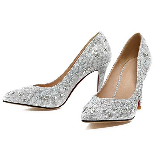 AIYOUMEI Damen Spitz Glitzer Pumps mit Strass und 8cm Absatz Stiletto High Heels Hochzeit Schuhe Silber