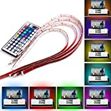 MINGER USB LED Strip Lights Kit, 4pcs×1.64ft TV Backlight kit, 4 Pre-Cut One Foot Strips & 3 Wire Mounting Clips & 44 Key Remote Control Multicolor RGB Home Accent LED Tape Light Strip for TV