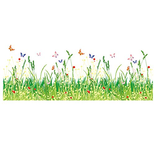 Winhappyhome Green Grass Flower Butterflies Baseboard Line Decal Wall Art Stickers for Kids Room Living Room Nursery Background DIY Removable Decor Decals