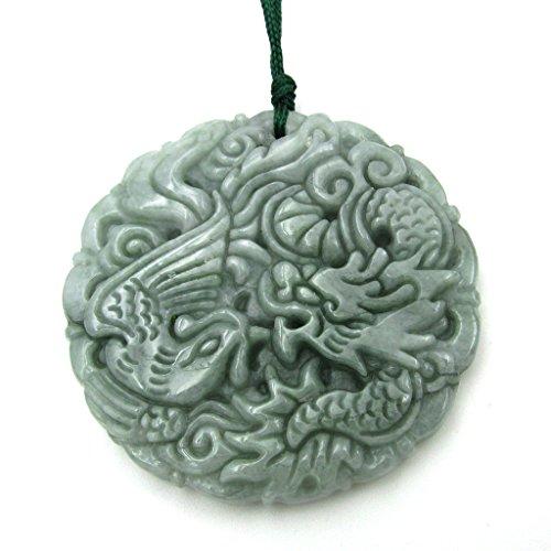 - OVALBUY Jadeite Jade Chinese Dragon Phoenix Amulet Pendant