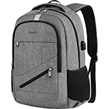 """Travel Laptop Backpack, Mancro Anti Theft Durable College School Bag with USB Charger Port Fit Up To 17"""" Laptop, Slim Business Water Resistent Lightweight Daypack for Macbook Computer Men Women(Grey)"""