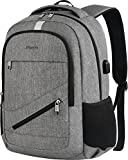 Travel Laptop Backpack, Mancro Anti Theft Durable College School Bag with USB Charger Port Fit Up To 17' Laptop, Slim Business Water Resistent Lightweight Daypack for Macbook Computer Men Women(Grey)