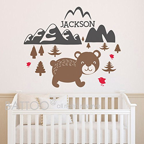 Bear Nursery Themes (BATTOO Cute Bear Wall Decal Baby Name Nursery Wall Art Animal Mountain Woodland Theme Boy Girl Name Personalized Kids Room Wall Mural Decor(color1, 40