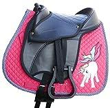 Kids Youth Saddle Set | Shetland Pony Saddle Pad Saddle Hide Covered Pony Pad Set with Pen and Key Ring