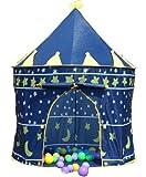 Printemps ou princesse Été Château du palais Enfants enfants Jouer Tente maison jardin intérieur ou extérieur jouet maison à la maison Maison de théâtre plage sol tente garçons filles (Blue Prince)