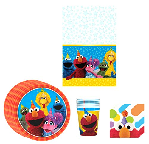[Elmo Sesame Street Birthday Party Supplies Pack Bundle Kit Including Plates, Cups, Napkins and Tablecover - 8] (Sesame Street Birthday Party Supplies)