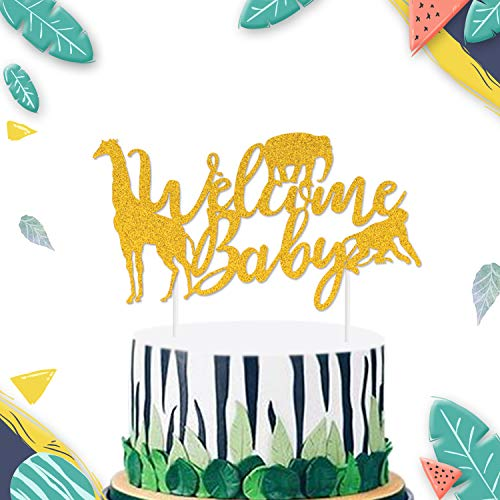 Jungle Safari Welcome Baby Cake Topper Gold Glitter Wild Animal Zoo Themed for Baby Shower Boys Kids 1st Birthday Party Supplies Cake Decorations]()