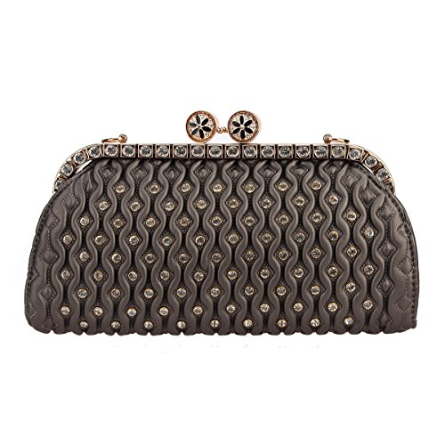 Bonjanvye Crystal Kiss Lock Pu Leather Purses and Handbags for Women's Clutch Bag Gray