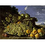 Oil painting 'Melendez Luis Egidio Frutero uvas peros melocotones y ciruelas Third quarter of 18 Century ' printing on Perfect effect canvas , 30 x 40 inch / 76 x 101 cm ,the best Hallway gallery art and Home artwork and Gifts is this High Resolution Art Decorative Prints on Canvas
