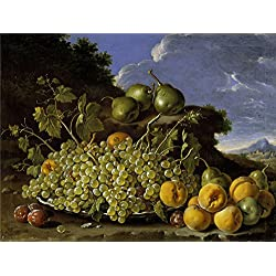 Oil Painting 'Melendez Luis Egidio Frutero Uvas Peros Melocotones Y Ciruelas Third Quarter Of 18 Century' 16 x 21 inch / 41 x 54 cm , on High Definition HD canvas prints, Bath Room, Kids Room, decor