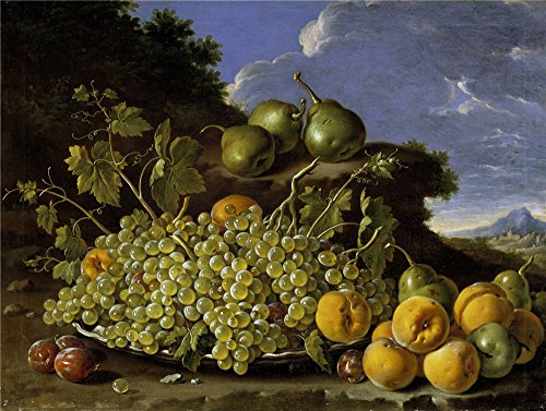 Polyster Canvas ,the High Definition Art Decorative Canvas Prints Of Oil Painting 'Melendez Luis Egidio Frutero Uvas Peros Melocotones Y Ciruelas Third Quarter Of 18 Century ', 18 X 24 Inch / 46 X 61 Cm Is Best For Gift For Bf And Gf And Home Artwork And Gifts