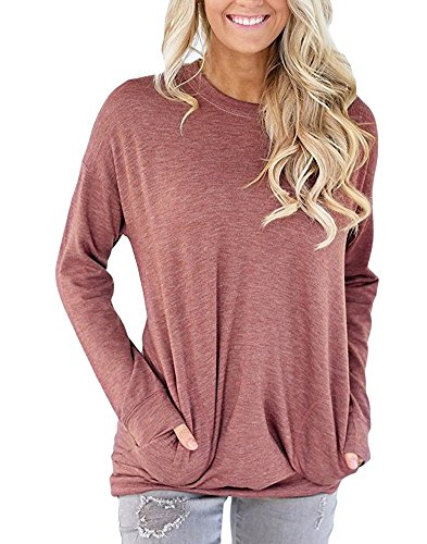 Women Long Sleeve Sweatshirt Tunic Tops Fall Winter Shirts Blouse Wine Red Cotton Regular Fit Size XXL