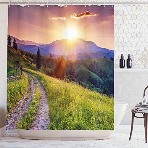 - Lunarable Country Shower Curtain, Majestic Calm Sunset in The Mountains Landscape Carpathian Ukraine Europe Scenics, Cloth Fabric Bathroom Decor Set with Hooks, 75