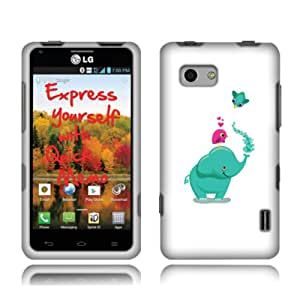 Fincibo (TM) LG Mach Cayenne LS860 Protector Cover Case Snap On Hard Plastic Front And Back - Funny Elephant And Bird