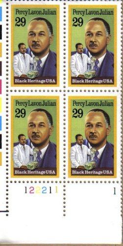 PERCY LAVON JULIAN ~ BLACK HERITAGE ~ CHEMIST ~ BLACK HISTORY #2746 Plate Block of 4 x 29 US Postage Stamps ()