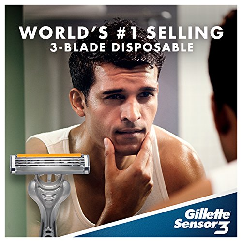 Gillette Sensor3 Men's Disposable Razor, 8 Count, Mens Razors / Blades