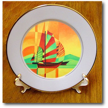 cp_63134_1 Taiche - Acrylic Painting - Sail Boat - Sail to Shore - boating, sailing enthusiast, fishing, fishing boat, chinese junk, yellow, orange - Plates - 8 inch Porcelain Plate