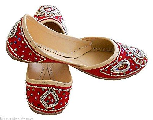 Creations 5 Damen Kalra M UK mit 7 für Work Traditioneller Indische Rot Sequence Samt Designerschuhe 7wwSdIq