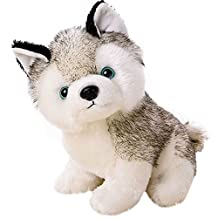 Gloveleya Realistic Husky Stuffed Dog Puppy Baby Dolls Kids Animal Toys 7''