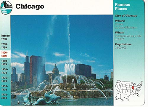 (1995 Grolier, Story Of America Card, 01.06 Chicago, Buckingham Fountain)