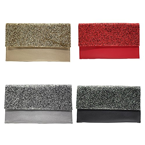 Clutch Verus Gold Bag Party Glitter Bridal Evening Womens Purse Envelope Gold Black Silver Leather Sparkly Handbags Prom 1IarI4nW