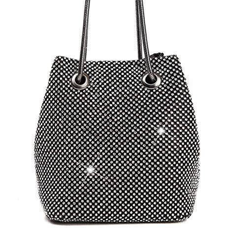 Road&Cool Clutch Handbag Diamond Gold Crossbody Bag Evening Dress Silver Shoulder Bags Dinner Wallet Wedding Reception Pocket Dress Cosmetic Bag Bucket Bag (11×15×16cm)