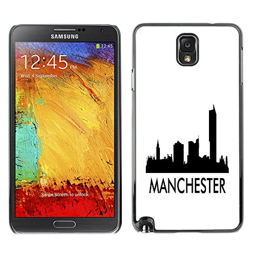 STPlus Manchester, United Kingdom City Skyline Silhouette Postcard Hard Cover Case for Samsung Galaxy Note 3 (Note 3 Manchester United Case)