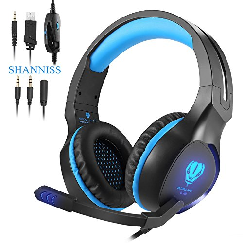 Xbox One Headsets,PlayStation 4 Nintendo Switch Headphones Pro 3.5mm Over-ear Noise Cancelling Hifi Bass Stereo Gaming Headset for PS4 Phone PC Xbox 360