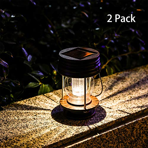 Pearlstar Hanging Solar Lights Outdoor - 2 Pack Solar Powered Waterproof Lanterns, Decor Landscape Lanterns with Warm Light LED and Retro Design for Patio, Yard, Garden and Pathway ()