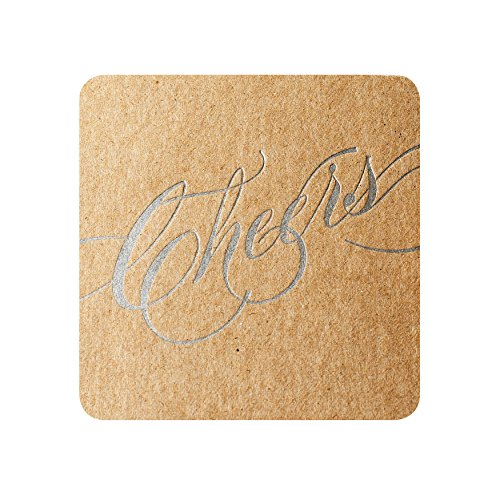 (Natural Recycled Chipboard Cheers Coasters Letterpress with Silver)