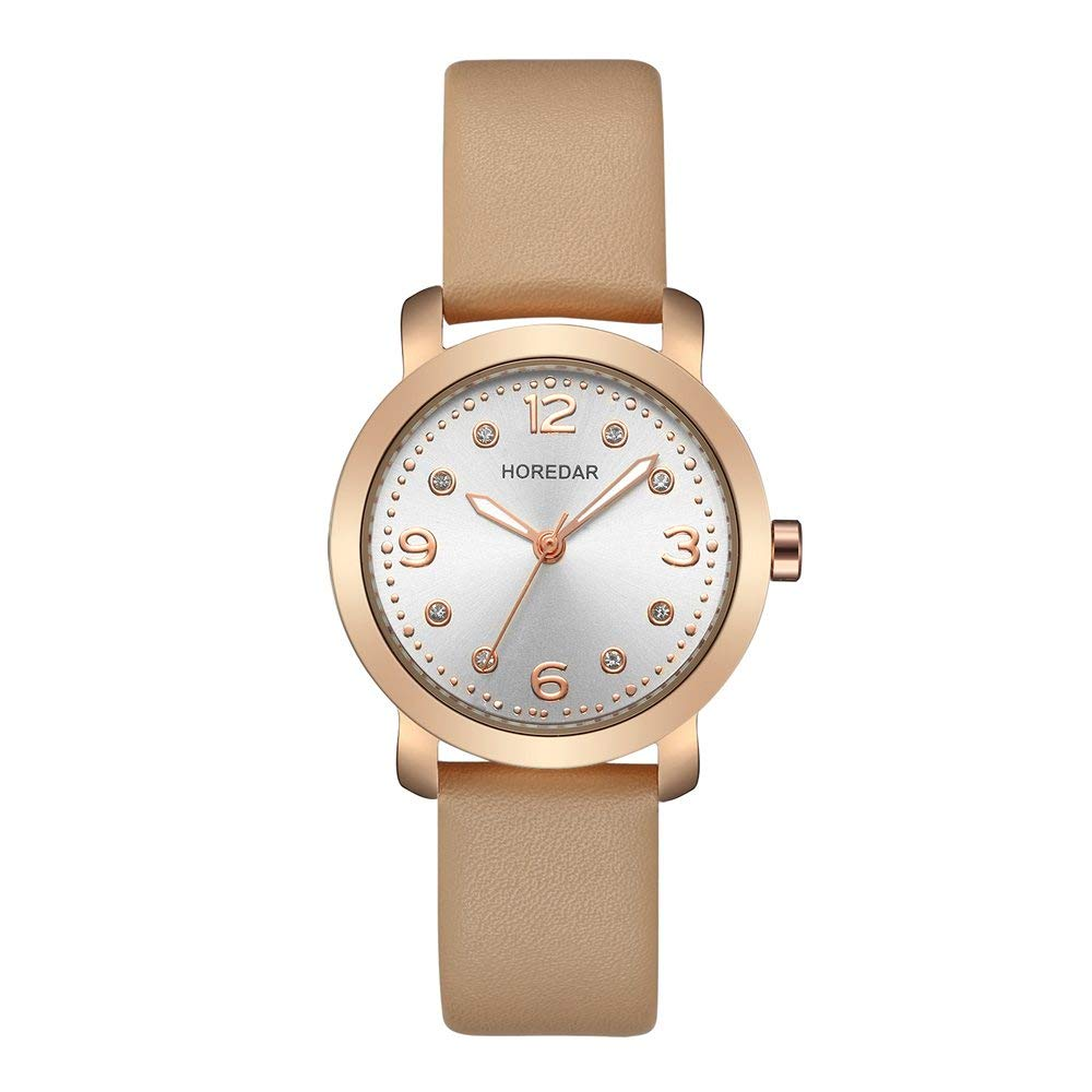 Amazon.com: Womens Fashion Watch with Crystal Face Elegant Small Leather Watch for Ladies Living Activities Waterproof (Beige): Watches