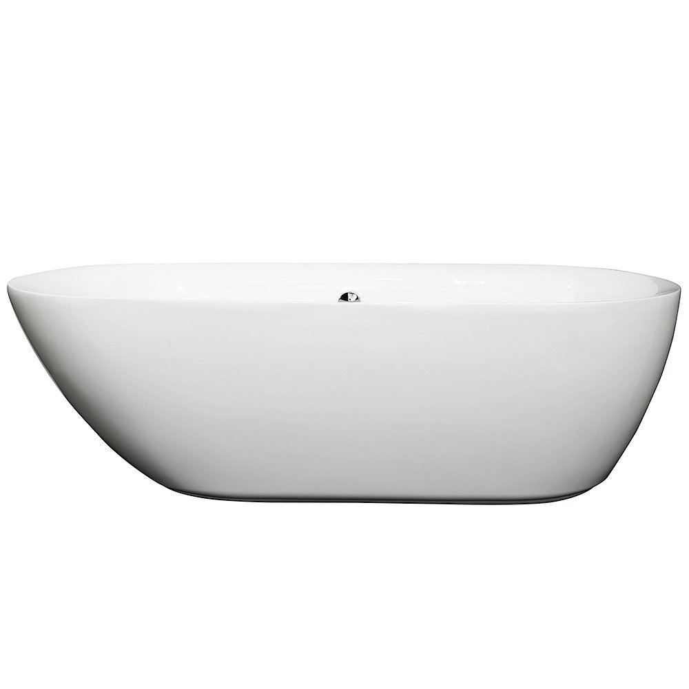 Wyndham Collection Melissa 71 inch Freestanding Bathtub in White with Polished Chrome Drain and Overflow Trim