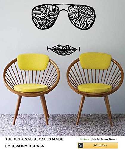(Wall Window Decal Sticker Sunglasses Lips Indian Pattern Henna Tattoo Yoga Studio Decor TT5382)