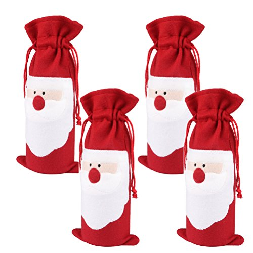 Arlai Pack of 4 Christmas Wine Gift Bags - Drawstring Christmas Red Wine Bottle Cover Bags -