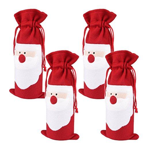 Arlai Pack of 4 Christmas Wine Gift Bags - Drawstring Christmas Red Wine Bottle Cover Bags (Christmas Gift Wine)