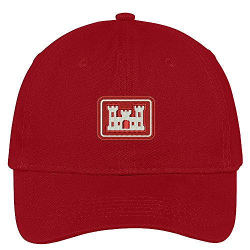Red Brushed Cotton Cap (Trendy Apparel Shop Army Corps Of Engineers Embroidered Low Profile Soft Cotton Brushed Baseball Cap - Red)