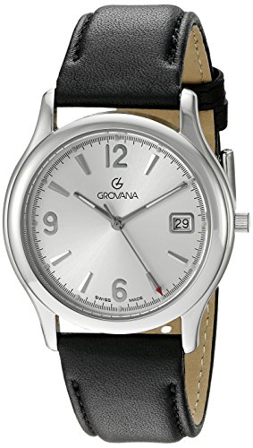Grovana Men's 1207-1132 Traditional Analog Display Swiss Quartz Black Watch