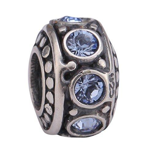 Sterling Silver Charm December Birthstone Bead Swarovski Crystal fits All Charm Bracelet for Women Girls Mother's Gifts EC221