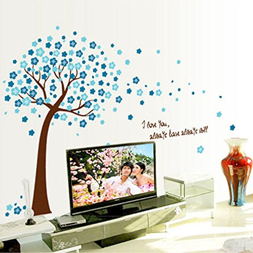 Amaonm Removable PVC Blue Cherry Blossom Tree & Flowers Wall Decals DIY Home art Decor Wall Stickers Murals