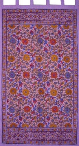 Sunflower Print Tab Top Curtain Drape Panel Cotton 44″ x 88″ Purple