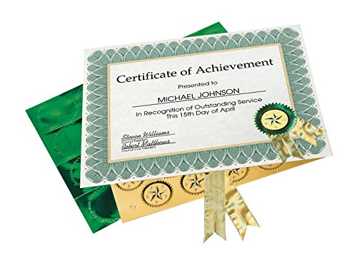 Helical Certificate - Geographics Helical Award Certificate Kit, Assorted Sizes, Green, 25 Pack, 6 Case (47405)