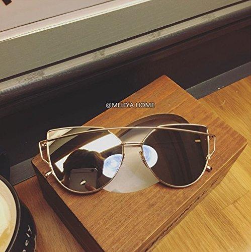Plata Gold Gafas Sol Frame Mujer Mercurio Vviiyj De caja Cara Polarizadas Blanco Redonda Mercury 8PqUZa