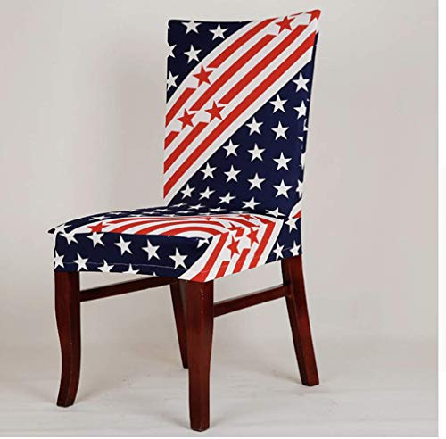 - American Flag Stretchable Elastic Dining Chair Slip Cover Decor 4th of July Memorial Day Labor Day Party Decorations Family Dining Room Washable Removable Patriotic Americana Stars and Stripes