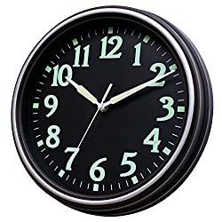 Sunbright Classic Decorative Wall Clock Glowing in The Dark, Silent Non-Ticking,12 Inch,Black Dial