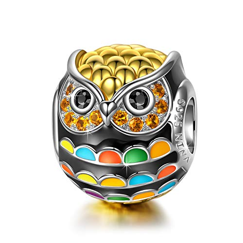 NinaQueen 925 Sterling Silver Pandöra Charms Owl Beads Gold Plated Multicolor Enamel Charm for Pandöra Bracelets Birthday Valentines Day Anniversary Jewelry Gifts for Teen Sisters Daughter