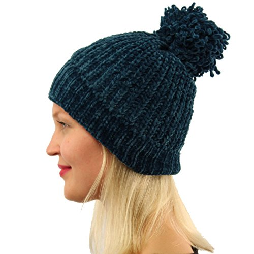 SK Hat shop Winter Ultra Soft Chenille Pom Pom Warm Chunky Stretchy Knit Beanie Hat Teal