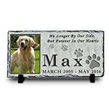 Custom Pet Memorial Stone | Pet Remembrance Polished Slate | Memorial Plaque | Personalized Dog or Cat Photo Slate | No Longer By Our Side, But Forever In Our Hearts (Stone, 6x12)