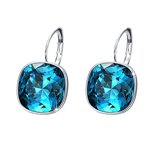 Xuping Halloween Gorgeous Fashion Crystals from Swarovski Huggies Hoop Earrings Women Girl Party Jewelry Gifts (Blue) -