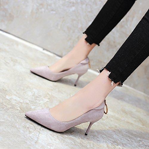 libero Moda Grigio Da tacchi Sandali Sexy Donna Fine di Tacco Calzature Tempo trentacinque scarpe Carriera 39 Unico 9cm Lavoro Testa Alla Ajunr affilato zf4wIxCqz